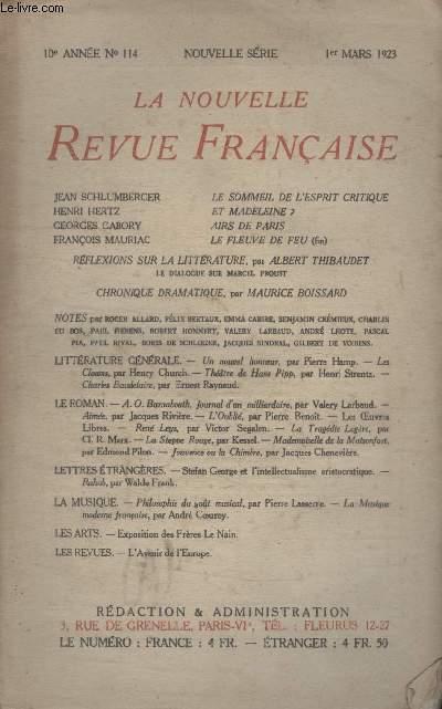 COLLECTION LA NOUVELLE REVUE FRANCAISE N° 114. LE SOMMEIL DE LESPRIT CRITIQUE DE JEAN SCHLUMBERGER/ ET MADELEINE? DE HENRI HERTZ/ AIRS DE PARISDE GEORGES GABORY/ LE FLEUVE DE FEU DE FRANCOIS MAURIAC.