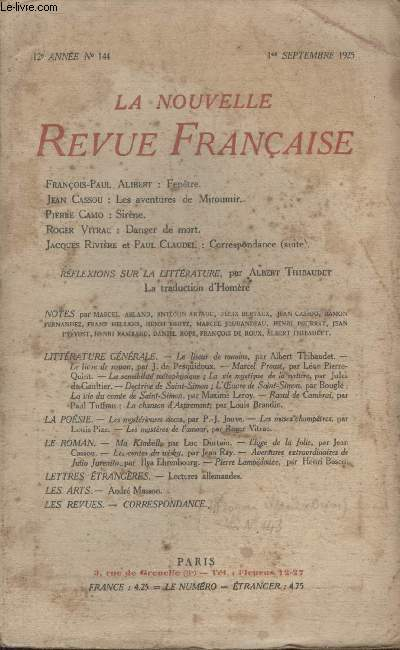COLLECTION LA NOUVELLE REVUE FRANCAISE N° 144. FENETRE PAR FRANCOIS PAUL ALIBERT/ LES AVENTURES DE MIROUMIR PAR JEAN CASSOU/ SIRENE PAR PIERRE CAMO/ DANGER DE MORT PAR ROGER VITRAC/ CORRESPONDANCE PAR JACQUES RIVIERE ET PAUL CLAUDEL.
