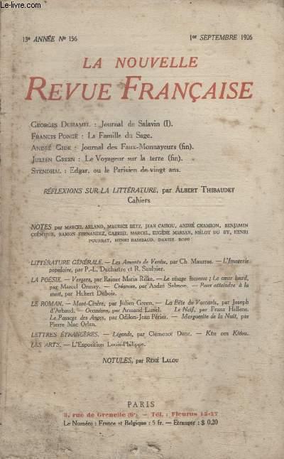 COLLECTION LA NOUVELLE REVUE FRANCAISE N° 156. JOURNAL DE SALAVIN PAR GEORGES DUHAMEL/ LA FAMILLE DU SAGE PAR FRANCIS PONGE/ JOURNAL DES FAUX MONNAYEURS PAR ANDRE GIDE/ LE VOYAGEUR SUR LA TERRE PAR JULIEN GREEN.