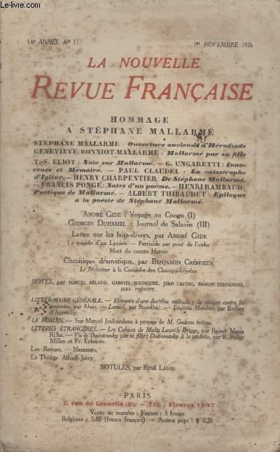 COLLECTION LA NOUVELLE REVUE FRANCAISE N° 158. VOYAGE AU CONGO PAR ANDRE GIDE/ JOURNAL DE SALAVIN PAR GEORGES DUHAMEL/ LETTRE SUR LES FAITS DIVERS PAR ANDRE GIDE/ CHRONIQUE DRAMATIQUE PAR BENJAMIN CREMIEUX.