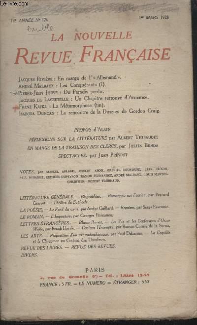COLLECTION LA NOUVELLE REVUE FRANCAISE N° 174. EN MARGE DE LALLEMAND PAR JACQUES RIVIERE/ DU PARADIS PERDU PAR PIERRE JEAN JOUVE/ UN CHAPITRE RETROUVE DARMANCE PAR JACQUES DE LACRETELLE.
