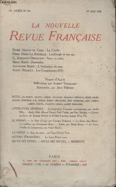 COLLECTION LA NOUVELLE REVUE FRANCAISE N° 176. LA GONFLE PAR ROGER MARTIN DU GARD/ LINDBERGH ET MA VIE PAR PIERRE DRIEU LA ROCHELLE/ INTRA ET EXTRA PAR G. RIBEMONT DESSAIGNES/ PASTORALES PAR HENRI BOSCO.