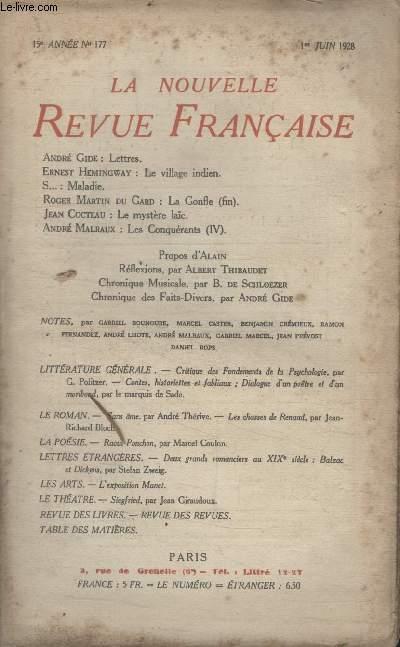 COLLECTION LA NOUVELLE REVUE FRANCAISE N° 177. LETTRES PAR ANDRE GIDE/ LE VILLAGE INDIEN PAR ERNEST HEMINGWAY/ LE MYSTERE LAIC PAR JEAN COCTEAU/ REFLEXIONS PAR ALBERT THIBAUDET/ CHRONIQUE DES FAITS DIVERS PAR ANDRE GIDE.