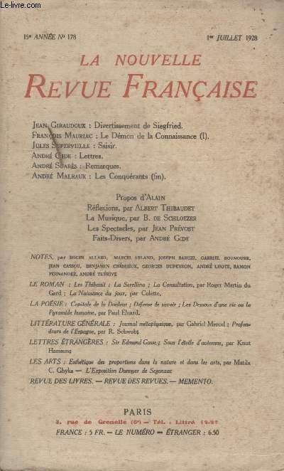 COLLECTION LA NOUVELLE REVUE FRANCAISE N° 178. DIVERTISSEMENT DE SIEGFRIED PAR JEAN GIRAUDOUX/ SAISIR PAR JULES SUPERVIELLE/ LETTRES PAR ANDRE GIDE/ REMARQUES PAR ANDRE SUARES.