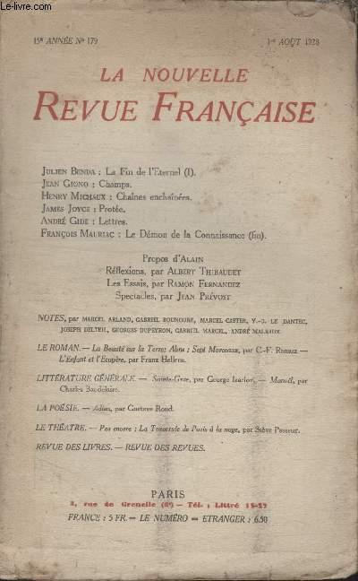 COLLECTION LA NOUVELLE REVUE FRANCAISE N° 179. CHAMPS PAR JEAN GIONO/ CHAINES ENCHAINEES PAR HENRY MICHAUX/ PROTEE PAR JAMES JOYCE/ LES ESSAIS PAR RAMON FERNANDEZ.