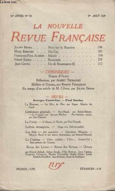 COLLECTION LA NOUVELLE REVUE FRANCAISE N° 191. NOTE SUR LA REACTION PAR JULIEN BENDA/ ZIG-ZAG PAR MARC BERNARD/ SEMELE PAR FRANCOIS PAUL ALIBERT/ BUCEPHALE PAR FRANZ KAFKA/ MOLIERE ET COPEAU PAR RAMON FERNANDEZ.