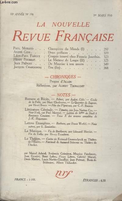 COLLECTION LA NOUVELLE REVUE FRANCAISE N° 198. DEUX PREFACES PAR ANDRE GIDE/ DE MAURIAC A SON OEUVRE PAR JEAN PREVOST/ PROPOS DALAIN.