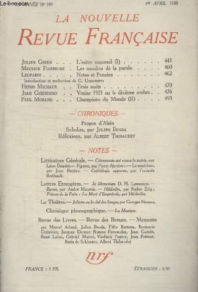 COLLECTION LA NOUVELLE REVUE FRANCAISE N° 199. LES MOULINS DE LA PAROLE PAR MAURICE FOMBEURE/ NOTES ET PENSEES PAR LEOPARDI/ TROIS NUITS PAR HENRI MICHAUX/ VENISE 1921 OU LA DIXIEME OMBRE PAR JEAN GUEHENNO.