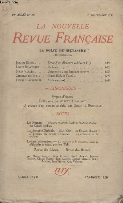 COLLECTION LA NOUVELLE REVUE FRANCAISE N° 206. ESSAI DUN DISCOURS COHERENT PAR JULIEN BENDA/ OCEANIE PAR LOUIS BRAUQUIER/  MALAISIE PAR HENRI FAUCONNIER.
