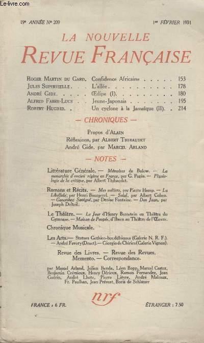 COLLECTION LA NOUVELLE REVUE FRANCAISE N° 209. CONFIDENCE AFRICAINE PAR ROGER MARTIN DU GARD/ LALLEE PAR JULES SUPERVIELLE/ OEDIPE PAR ANDRE GIDE/ JEUNE JAPONAIS PAR ALFRED FABRE LUCE.