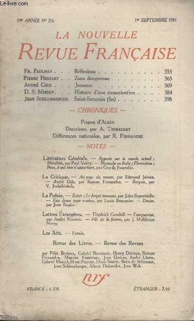 COLLECTION LA NOUVELLE REVUE FRANCAISE N° 216. REFLEXIONS PAR FR. PAULHAN/ ZONE DANGEREUSE PAR PIERRE HERBART/ JEUNESSE PAR ANDRE GIDE/ HISTOIRE DUNE EMANCIPATION PAR D.S. MIRSKY.