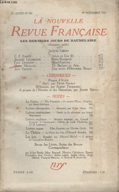 COLLECTION LA NOUVELLE REVUE FRANCAISE N° 230. ADAM ET EVE PAR C.F. RAMUZ/ PETITS BOURGEOIS PAR JACQUES CHARDONNE/ SIMPLIFICATIONS PAR PAUL DESMETH/ UN BARBARE EN ASIE PAR HENRI MICHAUX.