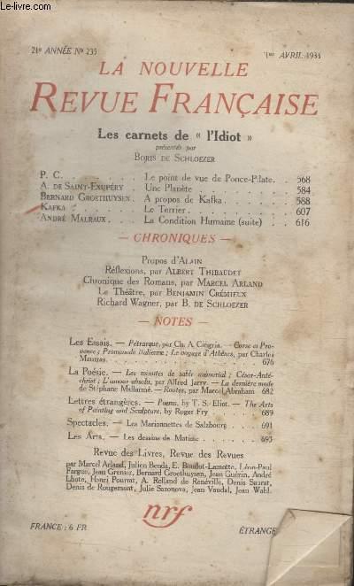 COLLECTION LA NOUVELLE REVUE FRANCAISE N° 235. LES CARNETS DE LIDIOT.
