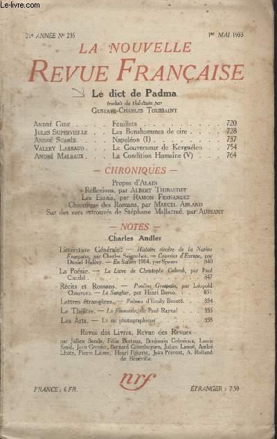 COLLECTION LA NOUVELLE REVUE FRANCAISE N° 236. LE DICT DE PADMA.