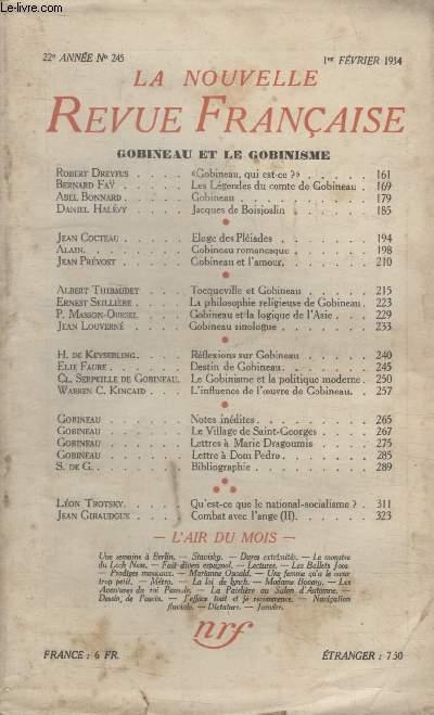 COLLECTION LA NOUVELLE REVUE FRANCAISE N° 245. GOBINEAU ET LE GOBINISME.