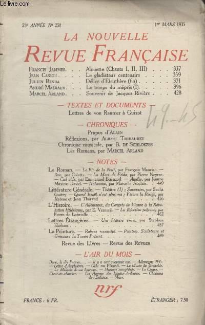 COLLECTION LA NOUVELLE REVUE FRANCAISE N° 258. ALOUETTE PAR FRANCIS JAMES/ LE GLADIATEUR CENTENAIRE PAR JEAN CASSOU/ SOUVENIR DE JACQUES RIVIERE PAR MARCEL ARLAND.