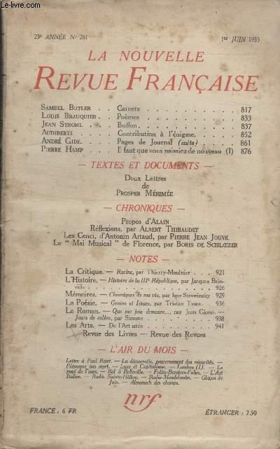 COLLECTION LA NOUVELLE REVUE FRANCAISE N° 261. CARNETS PAR SAMUEL BUTLER/ POEMES PAR LOUIS BRAUQUIER/ BUFFON PAR JEAN STROHL/ CONTRIBUTION A LENIGME PAR AUDIBERTI.