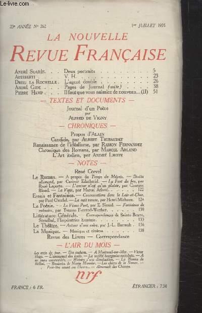 COLLECTION LA NOUVELLE REVUE FRANCAISE N° 262. DEUX PORTRAITS PAR ANDRE SUARES/ V.H PAR AUDIBERTI/ LAGENT DOUBLE PAR DRIEU LA ROCHELLE/ IL FAUT QUE VOUS NAISSIEZ DE NOUVEAU PAR PIERRE HAMP.