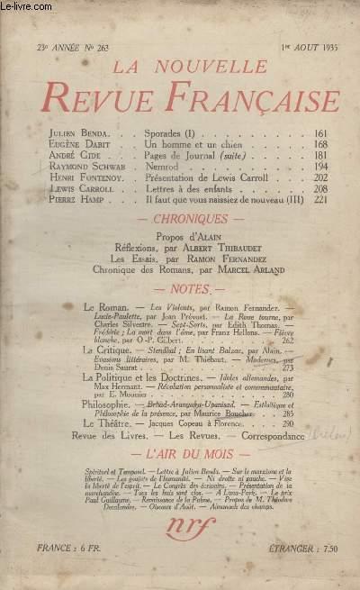 COLLECTION LA NOUVELLE REVUE FRANCAISE N° 263. SPORADES PAR JULIEN BENDA/ UN HOMME ET UN CHIEN PAR EUGENE DABIT/ NEMROD PAR RAYMOND SCHWAB/ PRESENTATION DE LEWIS CARROLL PAR HENRI FONTENOY/ LETTRES A DES ENFANTS PARS LEWIS CARROLL.
