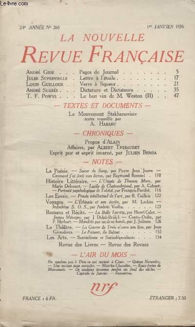 COLLECTION LA NOUVELLE REVUE FRANCAISE N° 268. LETTRE A LETOILE PAR JULES SUPERVIELLE/ VERRE A LIQUEUR PAR LOUIS GUILLOUX/ DICTATURE ET DICTATEURS PAR ANDRE SUARES/ LE BON VIN DE M. WESTON PAR T.F POWYS.