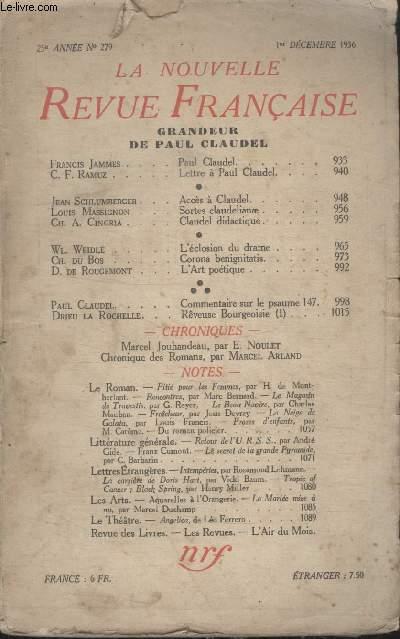 COLLECTION LA NOUVELLE REVUE FRANCAISE N° 279. GRANDEUR DE PAUL CLAUDEL.