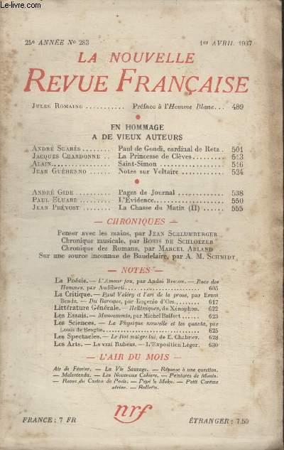COLLECTION LA NOUVELLE REVUE FRANCAISE N° 283. EN HOMMAGE A DE VIEUX AUTEURS.