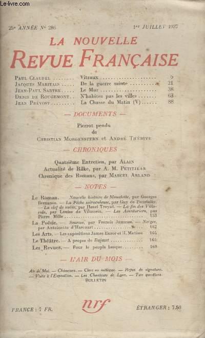 COLLECTION LA NOUVELLE REVUE FRANCAISE N° 286. VITRAUX PAR PAUL CLAUDEL/ DE LA GUERRE SAINTE PAR JACQUES MARITAIN/ LE MUR PAR JEAN PAUL SARTRE/ NHABITEZ PAS LES VILLES PAR DENIS DE ROUGEMONT.