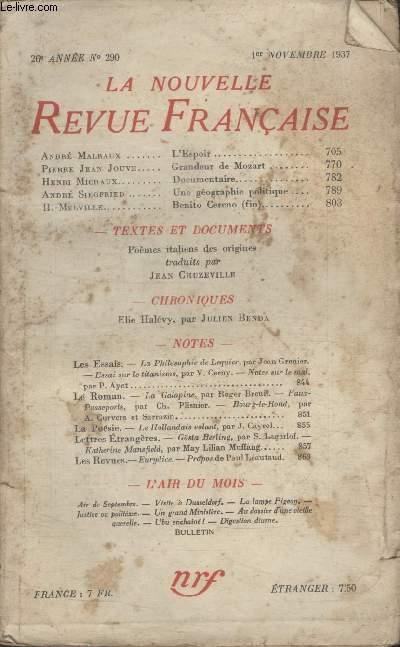 COLLECTION LA NOUVELLE REVUE FRANCAISE N° 290. LESPOIR PAR ANDRE MALRAUX/ GRANDEUR DE MOZART PAR PIERRE JEAN JOUVE/ DOCUMENTAIRE PAR HENRI MICHAUX/ UNE GEOGRAPHIE POLITIQUE PAR ANDRE SIEGFRIED.