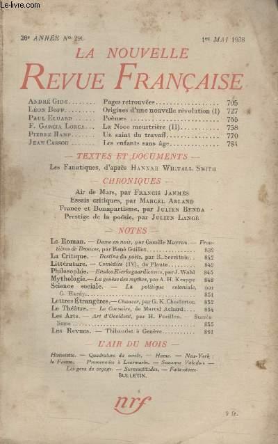 COLLECTION LA NOUVELLE REVUE FRANCAISE N° 296. PAGES RETROUVEES PAR ANDRE GIDE/ ORIGINES DUNE NOUVELLE REVOLUTION PAR LEON BOPP/ POEMES PAR PAUL ELUARD/ UN SAINT DU TRAVAIL PAR PIERRE HAMP/ LES ENFANTS SANS AGE PAR JEAN CASSOU.