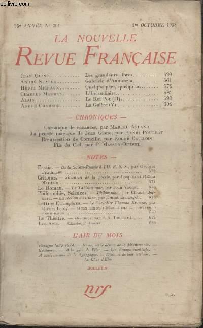 COLLECTION LA NOUVELLE REVUE FRANCAISE N° 301. LES GRANDEURS LIBRES PAR JEAN GIONO/ GABRIELE DANNUNZIO PAR ANDRE SUARES/ QUELQUE PART QUELQU'UN PAR HENRI MICHAUX/ LINCENDIAIRE PAR CHARLES MAUBAN.