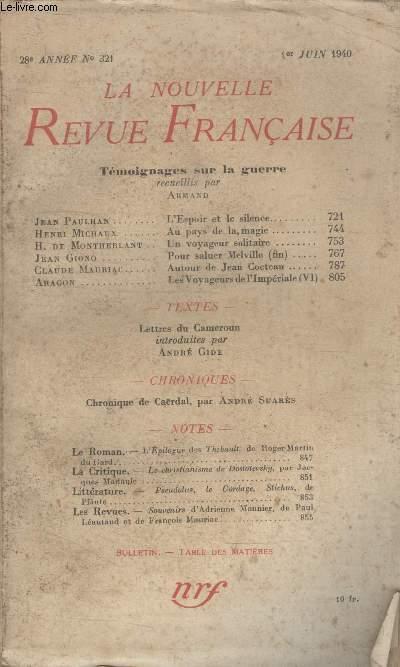 COLLECTION LA NOUVELLE REVUE FRANCAISE N° 321. TEMOIGNAGES SUR LA GUERRE.