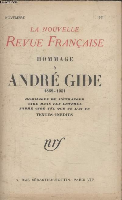 COLLECTION LA NOUVELLE REVUE FRANCAISE.HOMMAGE A ANDRE GIDE 1869 1951. HOMMAGE DE LETRANGER GIDE DANS LES LETTRES. ANDRE GIDE TEL QUE JE LAI VU. TEXTES INEDITS.