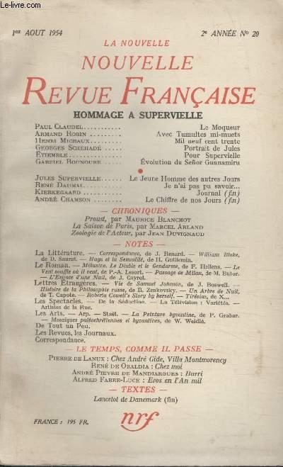 COLLECTION LA NOUVELLE NOUVELLE REVUE FRANCAISE N°20. LE MOQUEUR PAR PAUL CLAUDEL/ AVEC TUMULTES MI MUETS PAR ARMAND ROBIN/ MIL NEUF CENT TRENTE PAR HENRI MICHAUX/ PORTRAIT DE JULES PAR GEORGE SCHEHADE/ POUR  SUPERVIELLE PAR ETIEMBLE.