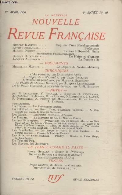 COLLECTION LA NOUVELLE NOUVELLE REVUE FRANCAISE N°40.
