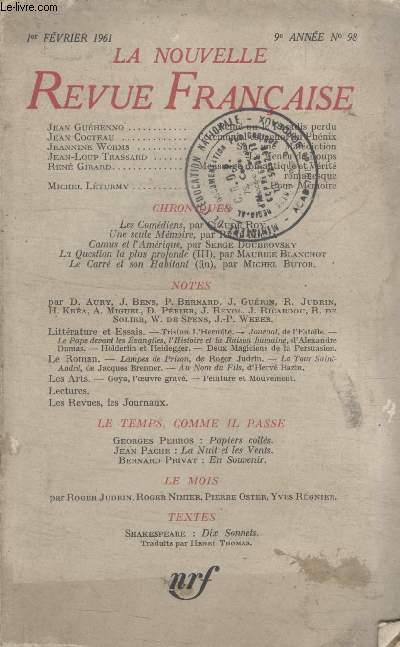 COLLECTION LA NOUVELLE NOUVELLE REVUE FRANCAISE N°98.PEINE OU LE PARADIS PERDU PAR JEAN HUEHENNO/ CEREMONIAL ESPAGNOL DU PHENIX PAR JEAN COCTEAU/ SUR UNE MALEDICTION PAR JEANNINE WORMS/ LE MENEU DE LOUPS PAR JEAN LOUP TRASSARD.