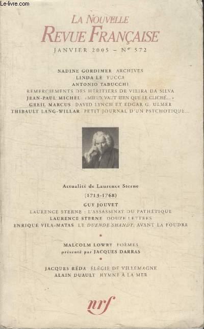 COLLECTION LA NOUVELLE NOUVELLE REVUE FRANCAISE N° 572. ARCHIVES PAR NADINE GORDIMER/ YUCCA PAR LINDA LE/ REMERCIEMENTS DES HERITIERS DE VIEIRA DA SILVA PAR ANTONIO TABUCHI/ MIEUX VAUT RIEN QUE LE CLICHE PAR JEAN PAUL MICHEL.