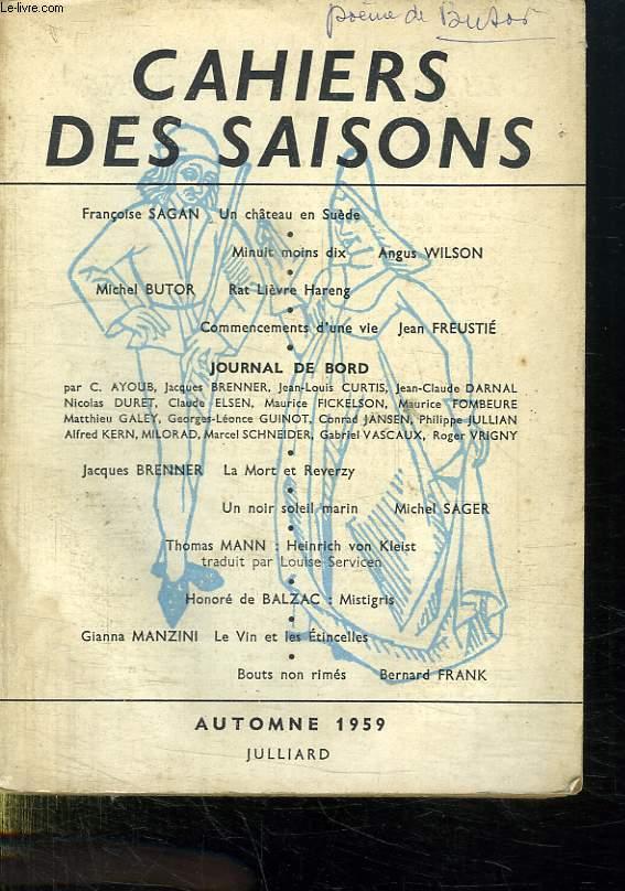 CAHIERS DES SAISONS. AUTOMNE 1959 N°18.