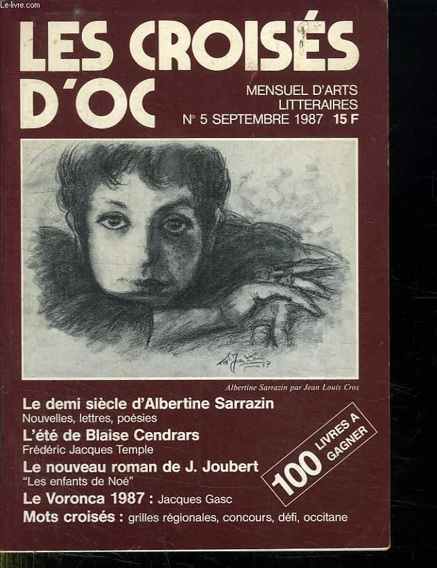 LES CROISES D OC. MENSUEL D ARTS LITTERAIRES N° 5 SEPTEMBRE 1987.