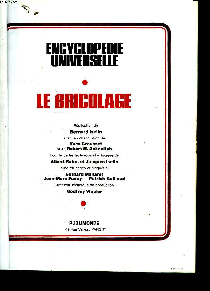 ENCYCLOPEDIE UNIVERSELLE LE BRICOLAGE.