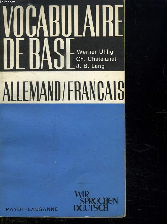 VOCABULAIRE DE BASE. ALLEMAND FRANCAIS.