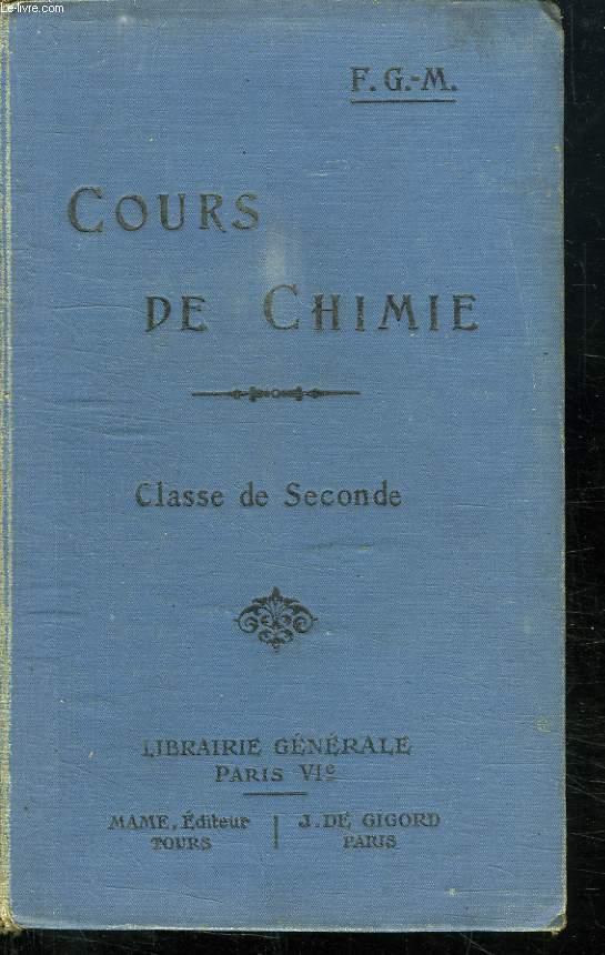 COURS DE CHIMIE. CLASSE DE SECONDE.