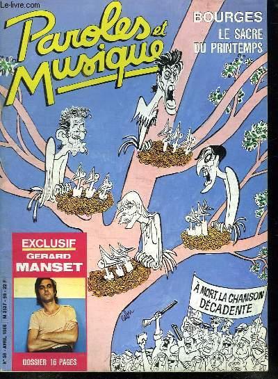PAROLES ET MUSIQUE N° 59 AVRIL 1986. SOMMAIRE: RENCONTRE AVEC LOUIS CHEDID. DOSSIER GERARD MANSET. PORTRAIT ROMAIN DIDIER...