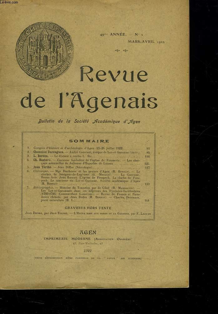 REVUE DE L AGENAIS. 49EM ANNEE N° 2 MARS AVRIL 1922.