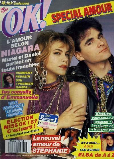 OK ! N° 578 DU 9 AU 15 FEVRIER 1987. SOMMAIRE: LES AVIONS. NIAGARA. ELECTION MISS OK. MINI ROMAN.