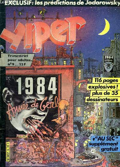 YIPER N° 9. REVUE POUR ADULTES. SOMMAIRE: ALEGRIA 1985. PIERRE OUIN. GERBAUD. TOME ET JANRY...
