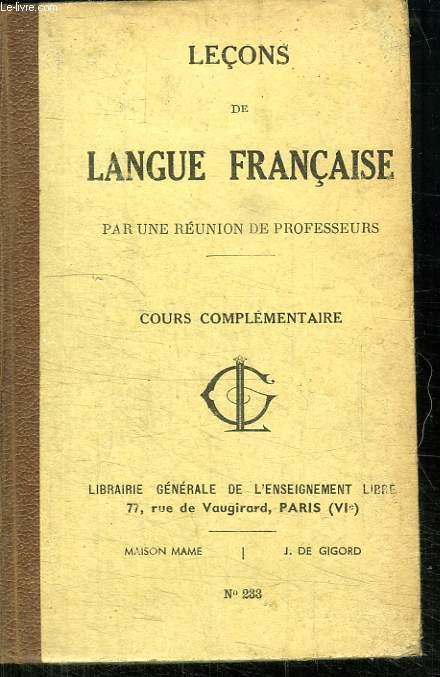 LECONS DE LANGUE FRANCAISE. COURS ELEMENTAIRE.