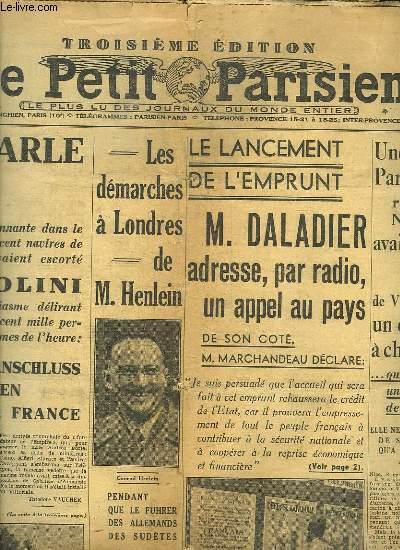 LE PETIT PARISIEN . DIMANCHE 15 MAI 1938. SOMMAIRE: LA JOURNEE DU TANDEM. M SPAAK DENOUE LA CRISE BELGE...