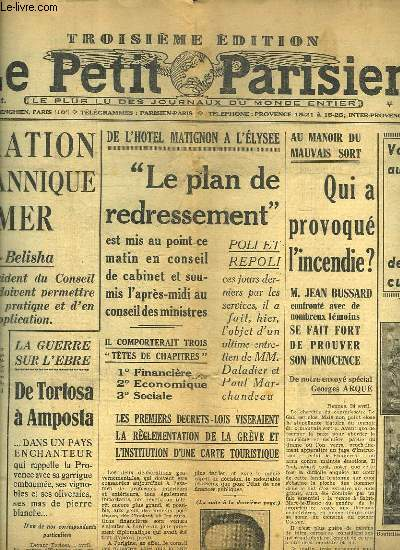 LA PETIT PARISIEN DU LUNDI 25 AVRIL 1938. SOMMAIRE: LES GRANDS DIMANCHES DE LONGCHAMP. M PAETS EST ELU PRESIDENT DE LA REPUBLIQUE ESTONIENNE.