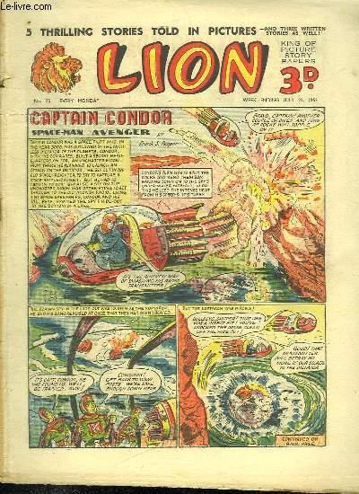 LION N° 75. CAPATAIN CONDOR SPACE MAN AVENGER. TEXTE EN ANGLAIS.