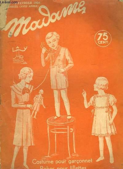 MADAME N° 421. 8 FEVRIER 1934. COSTUME POUR GARCONNET. ROBES POUR FILLETTES.